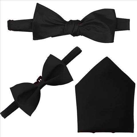 Combo Set of Black Open Bow Tie, Bow and Pocket Square.- By Billebon-LJ-R9YX-87XA
